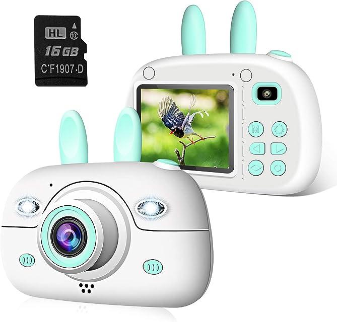 2NLF Camara para Niños Cámaras Digital de Video para niños Cámara Digital 2.4Pulgadas LCD 8MP 1080P HD Juguetes para Niña de 3-10 años con Tarjeta de 16GB SD