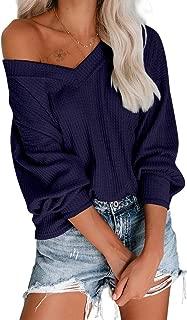 Exlura Women's Pullover Tops V Neck Long Sleeve Waffle Knit Drop Off Shoulder Casual Loose Shirts Sweatshirt Blouse