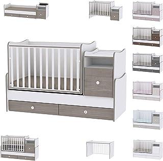 Lit bébé évolutif/combiné Trend Plus blanc/café Lorelli (Le lit se transforme en : lit d'adolescent, bureau, armoire multi...