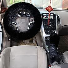 1 Set 3 Pcs Steering Wheel Cover Faux Wool Hand Brake Set Warm Winter (Black)