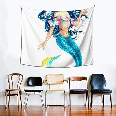 Tapiz Pared Blanco Hermoso Brillante Fantasía Sirenas Decoración de la pared Oficina 60x51 pulgadas (152x130cm) Colgante de pared Arte Decoración para el hogar Poliéster Para la sala de estar Dormito