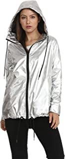 Hoodies Outerwear Long Sleeve Sweatshirt Gold Metallic Zipper Up Punk Raincoat Showerproof Outerwear Jacket
