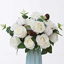 YUYAO 2 Pack Large Artificial Roses Flower Bouquets Fake Flowers Silk Rose Flowers Decoration for Office Home Bridal Wedding Party (White)