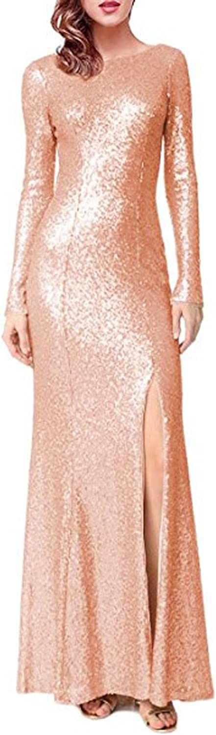 CIRCLEWLD Mermaid Evening Gowns with Long Sleeve Sequin Prom Dress Maxi Women EV024