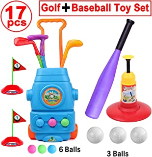 HanShe Golf Toy Baseball Toy 17pcs Kids Golf Set with 6 Balls Baseball Set with 3 Balls Golf for Kids Baseball Toddler Toddler Golf Set Kids Golf Kids Baseball Toddler Toy Outdoor Toy Birthday