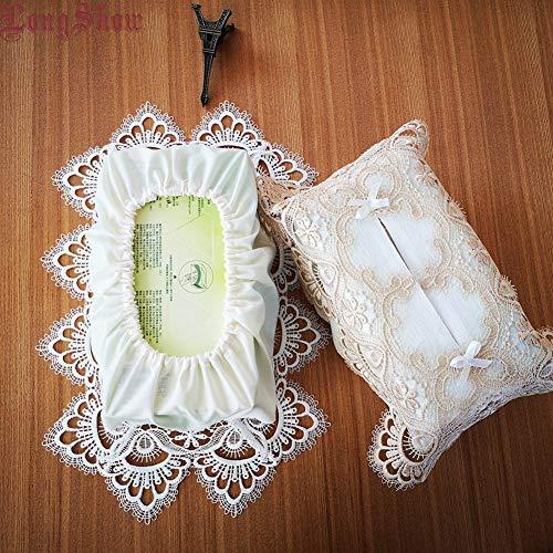 Breakthecocoon Decoración para el hogar, bordado, soporte de exhibición para decoración de encaje, caja de servilletas, caja de pañuelos a prueba de polvo (color blanco)