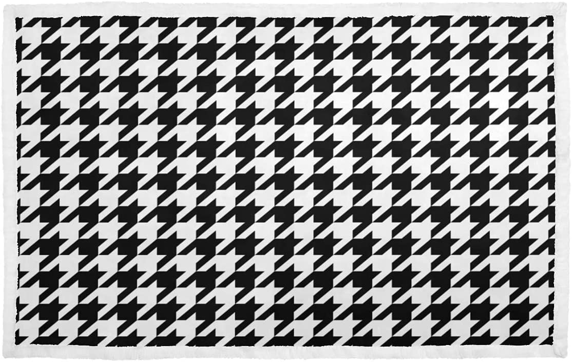 Pet Blankets Black White Couch Houndstooth Max 52% OFF Challenge the lowest price Classical Blanket
