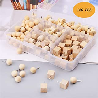 ZhenPony 180Pcs Nautral Wooden Pushpins Thumbtack Pins for Pushpin Board Decorative DIY Tool Thumbtack Pins Map Push Pins Pushpins Clear