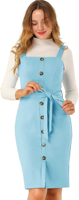 Allegra K Women's Pinafore free shipping Button Department store Decor Ju Strap Sheath Stretchy