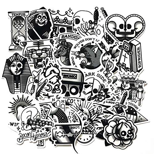 FSVGC Black And White Tattoo Suitcase Stickers Trolley Suitcase Guitar Skateboard Dark Waterproof Decals 29 Sheets