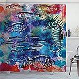 EricauBird Duschvorhang Fisch Seepferdchen Küstenbewesen Aquarell Malerei Effekt Batik Druck Duschvorhang mit Ringen Polyester Stoff Duschvorhang mit Haken Bad Badezimmer Dekor