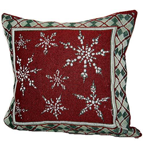 Kissenhüllen 40x40 cm Weihnachten Advent Gobelin Kissen Dekokissen Sofakissen Kissenplatte Gobelinkissen Schneekristalle Weinrot