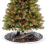 Faldones de árbol, alfombra de madera, estilo antiguo, para casa de leñador en nieve en el bosque, blanco y rojo, decoraciones de fiesta de Navidad, para casa de campo, chimenea, fiesta, 48 pulgadas
