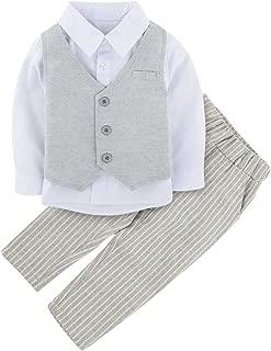 A&J DESIGN Toddler Boys 3pcs Tuxedo Formal Suit, Shirt & Pants & Vest