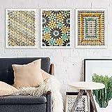 xdai Cuadro geométrico Caligrafía Musulmana Arte de la Lona Pintura geométrica Azulejos de la Alhambra Decoración Carteles e Impresiones Arte de la Pared 70x90cmx3 sin Marco