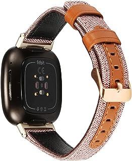 KangPlus Bracelet de rechange pour Fitbit Versa 3/Fitbit Sense - Bracelet en cuir réglable avec boucle en métal - Noir