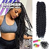 Passion Twist Hair 18 Inch Long Bohemian For Passion Twist Crochet Braiding Hair Water Wave Synthetic Fiber Natural Hair Extension(18'6pcs, 1B)