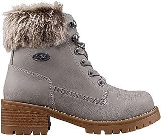 Lugz Women's Flirt Hi Faux Fur Fashion Boot, Grey/Gum, 7.5