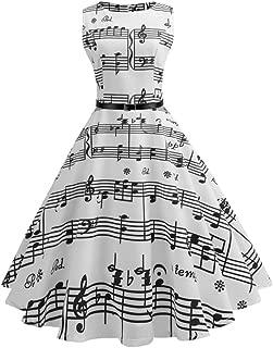 Alixyz Women Classy Audrey Hepburn 1950s Vintage Music Printed Swing Dress