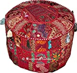 Indian Round Patch Work Embroidered Ottoman Pouf, Indian Round Ottoman Stool Pouf Pillow Patterned Cocktail Vintage...
