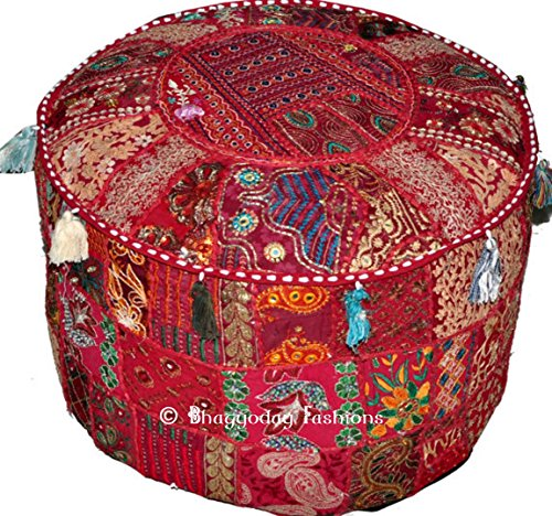 Housse en patchwork/coton brodé pour pouf Style ottoman/indien vintage Fait main 46 x 33 cm Par Bhagyoday