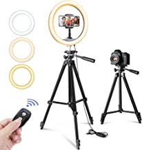 """$47 » 10"""" Selfie Ring Light with Tripod Stand & Phone Holder for Makeup and YouTube Live Streaming, Torjim Dimmable LED Camera Beauty Ringlight Lamp with 3 Light Modes & 11 Brightness Levels"""