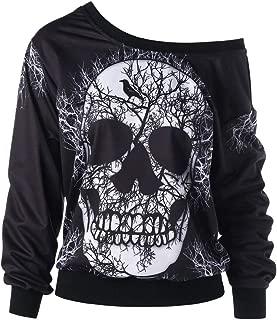 iLOOSKR Fashion Halloween Sweatshirt Women's Long Sleeve Skew Neck Skull Print Blouse Top Shirt