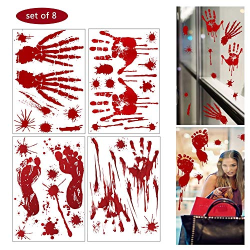 Csy Decoraciones de Halloween de Huella de Mano sangrienta - sangrienta Adhesivos de Piso con Pegatinas de Tatuajes, Decoraciones de Fiesta de Halloween