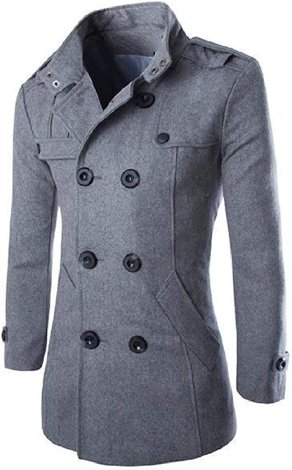 DressU Men's Stand Collar Double-Breasted Wool Blend Regular-Fit Trench Coat Jacket Clothes