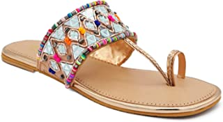 Trendy Girl's Slip on Embroidered Ethnic Flat Sandals (Sultan, numeric_5) UK Size 5