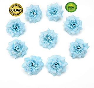 fake flowers heads Artificial Flowers Small Tea Bud Simulation Small Tea Rose Silk Flower Decoration Flower Head DIY Accessories 30pcs 4.5cm (Blue)