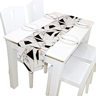 AUUXVA 13x70 inches Long Table Runner White and Black Geometric Marble Texture Decorative Polyester Table Runners Tablelcoth for Home Coffee Kitchen Dining Table Party Banquet Holiday Decoration