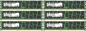 24GB KIT (6 x 4GB) for Dell PowerEdge Series M610 (ECC Registered T310 (ECC Registered). DIMM DDR3 ECC Registered PC3-10600R 1333MHz Dual Rank Server Ram Memory. Genuine A-Tech Brand.