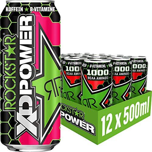 Rockstar Energy Drink XD Power Hardcore Apple - Koffeinhaltiges Erfrischungsgetränk für den Energie Kick, EINWEG (12x 500ml)