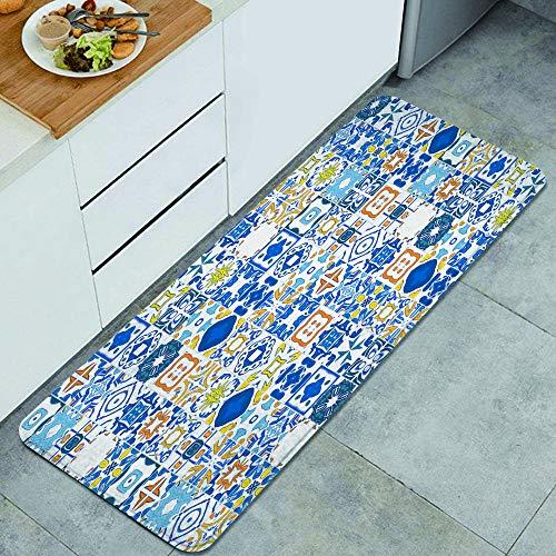 DYCBNESS alfombras de Cocina Antideslizantes Lavables,Mosaico Azulejo Portugués Efecto Arabesco Mediterráneo,con Parte Trasera de Goma, felpudos para Interiores y Exteriores 45x120cm