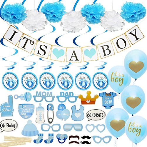 Baby Shower Decorations for Boy - Includes matching Its A Boy Banner & Balloons, Cute Photo Booth Props, Blue & White Flower Decor, AND MORE! Perfect All In One Decoration Bundle