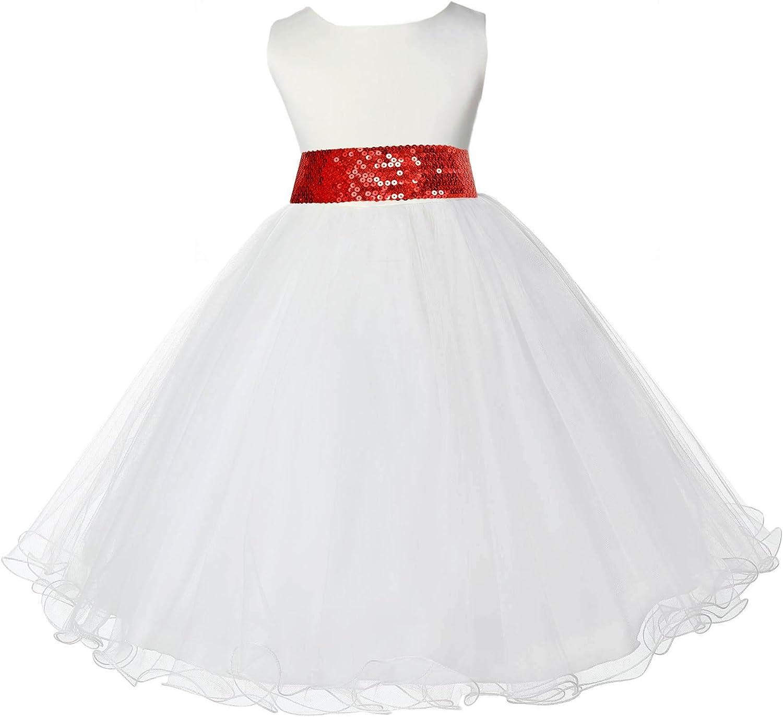 Wedding Rattail Edge Ivory Tulle Flower Girl Dress Birthday Party 829mh