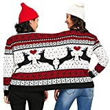 COOKI Two Person Ugly Christmas Sweater Xmas Couples Pullover Novelty Sweaters Sweatshirts Tops Shirt Blouses Red