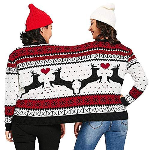VEMOW 2018 Weihnachtstag Zwei Person hässliche Pullover Weihnachten Paare Pullover Neuheit Weihnachten Mode Einzigartige warme Bluse Top Shirt Sweatershirt(Weiß, XXL)