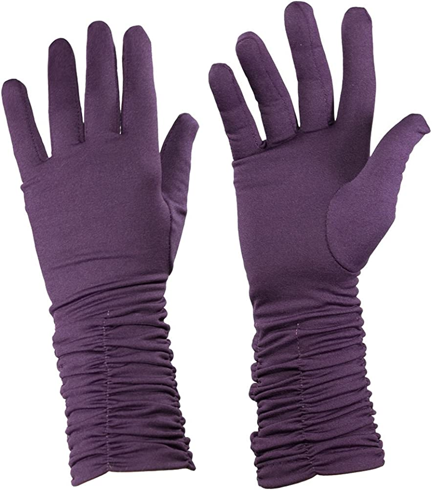 Purple Gathered, Ruched Edge Gloves