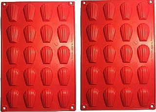 Mini vassoio in silicone Madeleine, 2 stampi in silicone con 20 cavità fai da te in 20 fori per torte e stampi antiaderenti