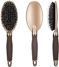 SOLANAR Boar Bristle Paddle Hair Brush for Women& Men,Detangling Brush for Straightening &Smoothing Hair and Normal Hair,for Wet, Dry, Thick, Thin, Curly & Straight Hair Comb (Golden)