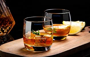 Syanka Heavy Classic Oldfashioned Glass Whiskey Glasses Set of 2, Clear, 310ml