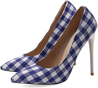 Pointed Plaid Print High Heels For Banquet Wedding Dress Daily (Color : Blue, Size : 35)