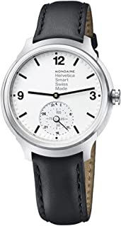 Mondaine Helvetica Stainless Steel Quartz Watch with Leather Strap, Black, 20 (Model: MH1.B2S10.LB)