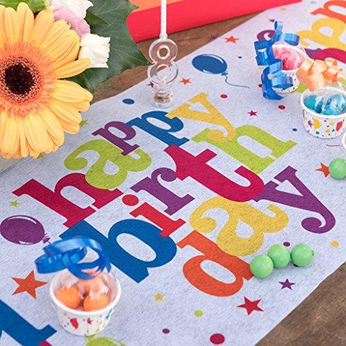 Santex Tischläufer Party bunt Happy Birthday Tischband Tischdekoration Geburtstag Feier