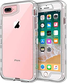 iPhone 8 Plus Case, iPhone 7 Plus Case, Anuck Crystal Clear 3 in 1 Heavy Duty Defender Shockproof Full-Body Protective Case Hard PC Shell & Soft TPU Bumper Cover for iPhone 7 Plus/8 Plus 5.5