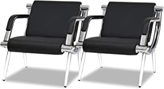 Black PU Leather Office Guest Chair Set of 2 with Arm Lumbar Support and Cushion Seat for Office Waiting Room