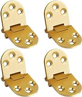Sayayo Folding Flip Tray Hinge Folding Table Cabinet Door Hinge, Solid Brass Brushed Finished, 4 Pcs, CHY2002-4P