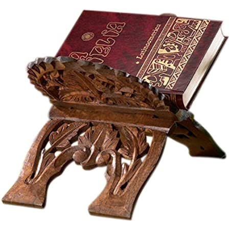Folding Stand Earthly Home Intricately Hand Carved Wooden Floral Design Book Holder-Bookrest-Hands Free Book Reading Support Antique Look-Ideal Gift for Book Reading Lovers,Size 13 inch x 6.5 inch